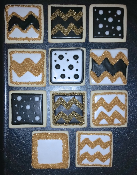Chevron & Polka Dot Square Cookies